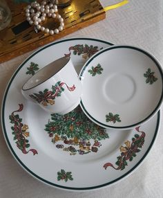 Excited to share the latest addition to my #etsy shop: 3 Piece Set, Victorian Christmas by Johnson Brothers, Dinner Plate, Tea Cup, Saucer, Christmas Tree, Holly and Gold Bells #housewares #red #anniversary #christmas #green #holidays #christmasg http://etsy.me/2C70zjV