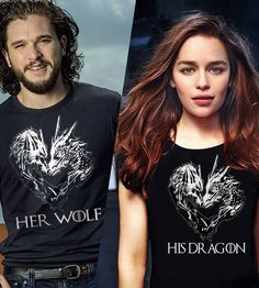 game of thrones cute t-shirsts lol---her wolf/his dragon Game Of Thrones Series, Game Of Thrones Cast, Game Of Thrones Funny, Jon Snow And Daenerys, Game Of Throne Daenerys, Dallas Buyers Club, Olivia Newton John, Rachel Mcadams, Dessin Game Of Thrones