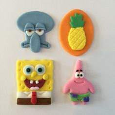 12 Spongebob Squarepants Cupcake by bakerslovebakery on Etsy Fondant Giraffe, Fondant Animals, Cute Polymer Clay, Polymer Clay Crafts, Sponge Bob Cupcakes, Sponge Bob Cake, Unicorne Cake, Fondant Cupcake Toppers, Cupcake Cakes