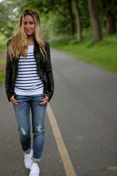 My go-to on the weekend is always  distressed denim + stripes + sneakers...I  do a ton of walking ...