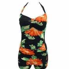 New Arrival Elegant Floral Retro One Piece Plus Size Swimwear High Waist  Bandage Print Bikini Vintage 47bef1ea8