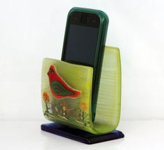 fused glass mobile phone stand  stand smartphone by virtulyglass, $25.00