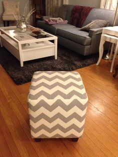 Here is my new upholstered cube from  Ballard with the Gray Chevron print.  Love it!