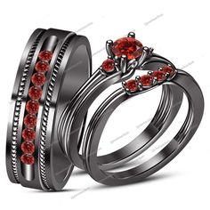 Red Garnet Trio 14k Black Gold Over Wedding Engagement His Her Rings Bridal Sets #2jewelauction