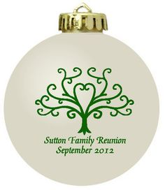 Personalized Christmas ornament family reunion favors.