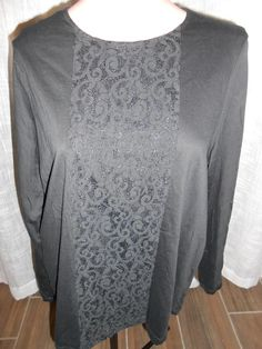 New to ebay and on sale! Bonita Bargains Item: 336961 -- Ralph Lauren Womens 1X XL Black Lace 100% Cotton Blouse Top Shirt 3/4 Sleeve