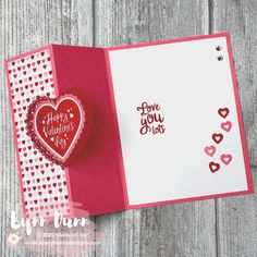 4 simple fun fold cards to make for Valentine's Day. These are pretty quick and simple card designs that are sure to WOW your family and friends. Fancy Fold Cards, Folded Cards, Joy Fold Card, Stampin Up, Valentines Day Cards Handmade, Love Cards Handmade, Homemade Valentine Cards, Printable Valentine, Valentine Box