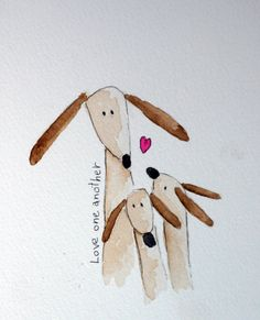 Love One Another original small watercolor brown by TerraBlueArt