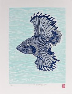Buy Original Art Direct from Independent Artists and Galleries. Discover Affordable Paintings, Photography, Sculpture and Limited Edition Art Prints. Buy Prints, Prints For Sale, Fabric Fish, Original Paintings, Original Art, Siamese Fighting Fish, Bird Artwork, Linocut Prints, Pet Birds