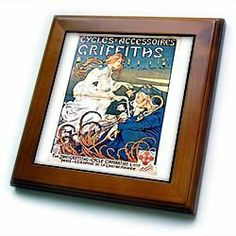 """1870 French Ad for Bicycles By Henry Thiret - 8x8 Framed Tile by 3dRose. $22.99. Cherry Finish. Solid wood frame. Inset high gloss 6"""" x 6"""" ceramic tile.. Keyhole in the back of frame allows for easy hanging.. Dimensions: 8"""" H x 8"""" W x 1/2"""" D. 1870 French Ad for Bicycles By Henry Thiret Framed Tile is 8"""" x 8"""" with a 6"""" x 6"""" high gloss inset ceramic tile, surrounded by a solid wood frame with pre-drilled keyhole for easy wall mounting.. Save 15% Off!"""