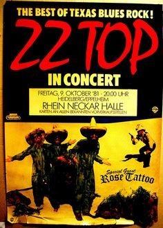 Zz Top Concert, Rock Concert, Funny Vintage Ads, Vintage Humor, Tour Posters, Band Posters, Event Posters, Bruce Dickinson, Power Metal