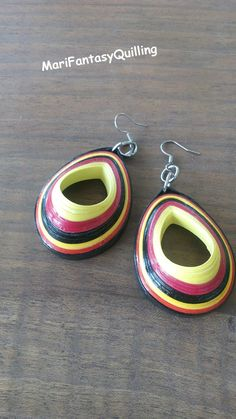 Quilling paper earrings - red, black and yellow - fashion jewelry, handmade