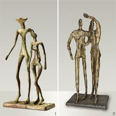 "1 - ALBERTO GIACOMETTI 1902-1985 (sculpture 1957) ""Couple"" / 2 - LEON INDENBAUM 1890-1981 (sculpture1946) ""The couple"". These two artists are part of the movement ECOLE DE PARIS with their sculptor friends Alexander Archipenko, Antoine Bourdelle, Alfred Boucher, Constantin Brancusi, Joseph Csaky, Charles Despiau, Diego Giacometti, Barbara Hepworth, Henri Laurens, Fernand Leger, Jacques Lipchitz, Henri Matisse, Oscar Miestchaninoff, Amadeo Modigliani, Chana Orloff, Pablo Picasso, Ossip…"