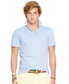 Polo Ralph Lauren Men's Striped Pima Soft-Touch Shirt - Harbor Island Blue XXL