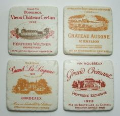 Vintage-Style-French-Wine-Label-Ceramic-Tile-Coasters-4-x-4-Set-of-4