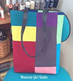 Modern quilted tote bag by Material Girl Quilts