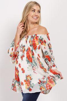 c649162de1785 White Floral Pleated Off Shoulder Maternity Top