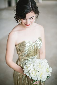 gold bridesmaid I've never seen this done before! I love it!