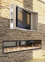 Frameless DX1000 - see through, double sided gas fire with TV that pivots above - ultimate in indoor/outdoor living set up