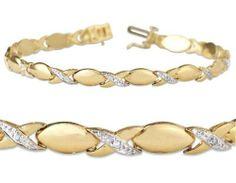 10k Yellow Gold and 0.03 ctw Round-Cut Diamond High Polish X-Link Bracelet Joolwe. $279.99. Save 43%!