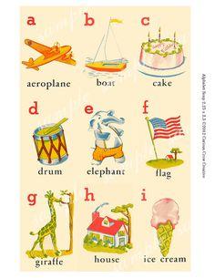 Vintage Alphabet Flash Cards Digital Collage Sheets