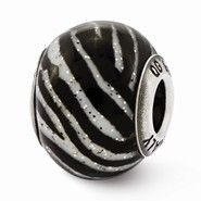Sterling Silver Italian Black & White Stripes Glass Bead Charm