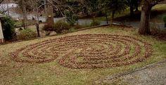Leaf Labyrinth by Chuck Hunner Labyrinth Garden, Around The Worlds, Labyrinths, Leaves, Outdoor Decor, Meditation, Zen