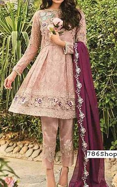 Tea Pink Chiffon Suit | Buy Coir Pakistani Dresses and Clothing online in USA, UK