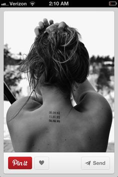 Coordinents tattooed down back of all the places I've travelled