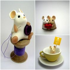 Quernus, an Etsy shop specializing in polymer clay animals. I want the tea drinking one.