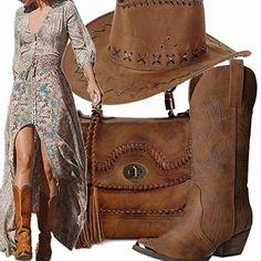 Outfit pensato per le amanti dello stile cowboy, abito lungo fiorato con spacco e scollatura profonda, stivale e cappello ed infine una borsa marrone.