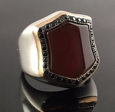 Unique. 925 Sterling Silver Red Agate Aqeeq Stone Men's Ring -US Seller - K8C