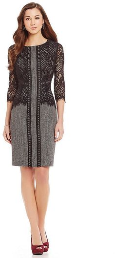 Antonio Melani Audobon Herringbone Lace Sheath Dress