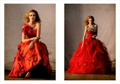Catherine Colubriale Couture from Sydney Australia. Photography done by Kent Johnson.    Sensual red gowns and makeup.
