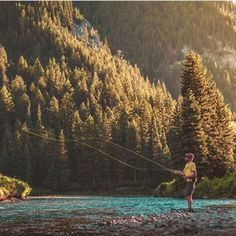 Fly fishing in the mountains- beautiful!  Photo by @cole.mgkra