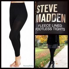 """New Nwt Steve Madden Womens S M Petite 5'8"""" Black Fleece Lined Footless Tights #SteveMadden #Steve #Madden #Fleece #Lined #Black #Tights"""