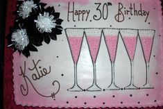 Birthday Sheet Cakes for Women | This classy 30th birthday cake is pink champagne flavor, and designed ...