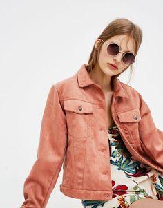 Pull&Bear - mujer - ropa - abrigos y cazadoras - cazadora antelina bolsillos - rosa - 05713314-V2018