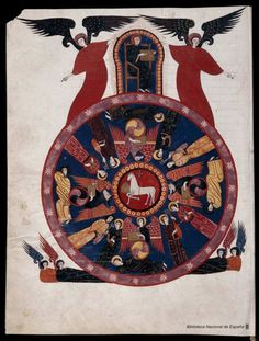Beatus de Liébana : Códice de Fernando I y Dña. Sancha - Agnus Dei, Symbols of the Apostles