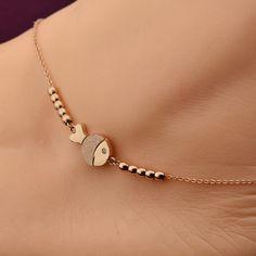 Voguess moda vendedor caliente lindo fish tobillera de oro rosa pulsera de cadena de acero de color muchacha de las mujeres amante cadena descalzo joyería