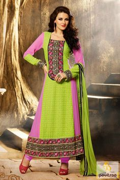 Pink lime party wear Anarkali Salwar Suit is made with nice embroidery, stone, resham and lace patti works. It is made with the true georgette fabrics Visit us:  http://www.pavitraa.in/store/anarkali-salwar-suit/ http://www.pavitraa.in/
