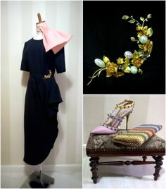 Vestido Dior Haute Couture, Bow Dior, broche Van Cleef & Arpels, clutch de snakeskin Jimmy Choo, sandálias Valentino