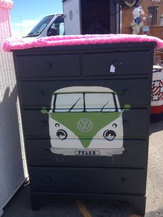 VW bus painted on dresser