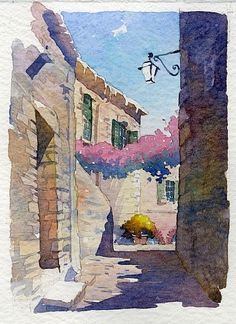loggia - montalto by Thomas W. Schaller Watercolor ~ 11 inches x 8.5 inches