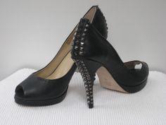 BCBG MaxAzria 'Roxanne' studded pumps. Black, peep toe with platform & stud/spike heel. SIZE 9.