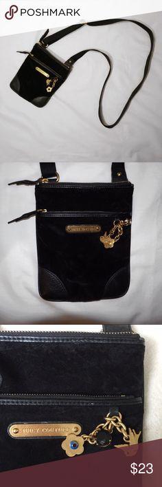 Juicy Couture Velvet Crossbody Bag in great condition! Juicy Couture black velvet crossbody bag, adjustable! Juicy Couture Bags Crossbody Bags