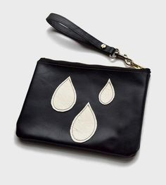 Raindrop Applique Leather Zip Pouch by Two Tickets on Scoutmob Shoppe