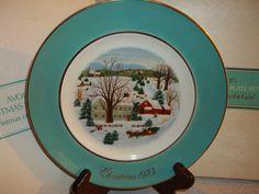 1973 Avon Wedgwood (Tunstall) England Christmas Collector Plate 'Christmas on the Farm' First Edition
