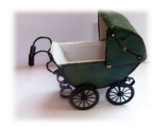 Miniature Pram Tutorial-would like to make in pink instead. Pink and lacy and girly themed