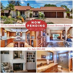 IN ESCROW! Only 4 days on the market.  557 La Calma in Escondido, CA This Lomas Serenas Estate is nestled back in a private cul-de-sac, with panoramic views of the mountains.Travertine tile flooring, soaring ceilings, dual pane windows, updated gourmet kitchen, custom cabinets, two fireplaces, recessed lighting and a large center island. The spacious master bedroom has it own private movie room! This home sits on a flat half acre.